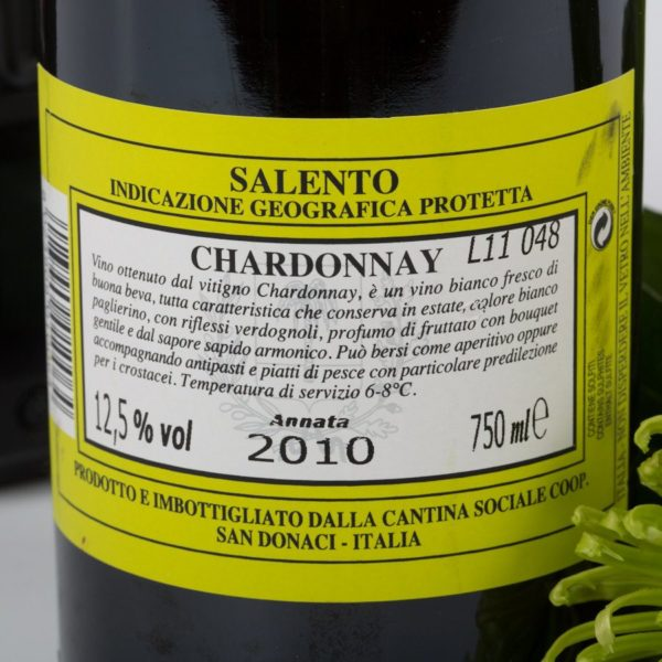 Hvidvin Anticaia Chardonnay, etiket bagside