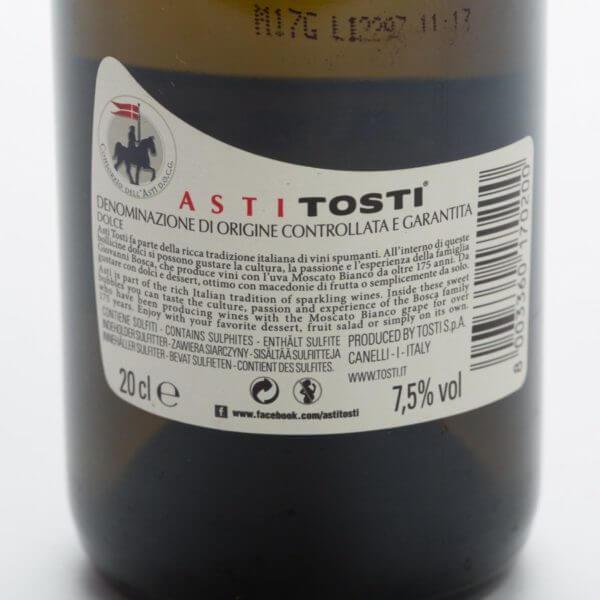 Mini Asti Spumante, bagside etiket