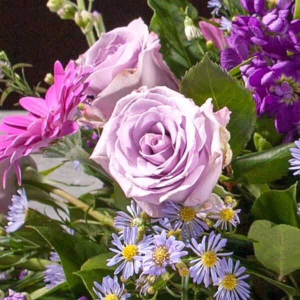 Båredekoration, blå og lilla, zoom 4