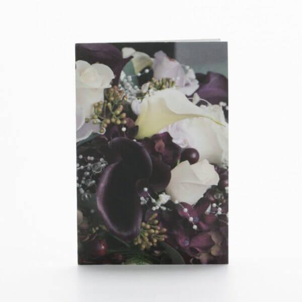 Blomsterkort, Lilla hvid, Forside