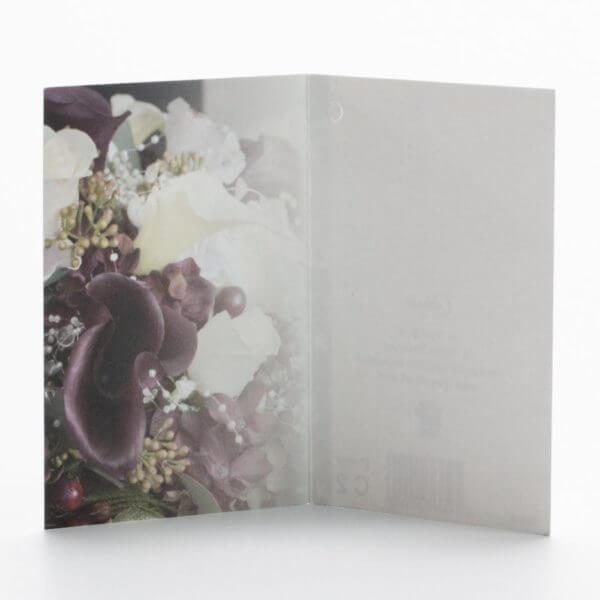 Blomsterkort, Lilla hvid, Inderside