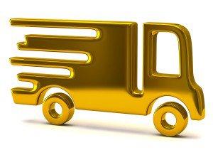Lastbil i guld til Udbringning af blomster