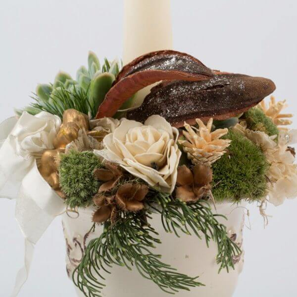 Juledekoration, hvid potte, creme keglelys, detalje 3