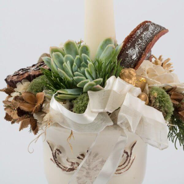 Juledekoration, hvid potte, creme keglelys, detalje 2