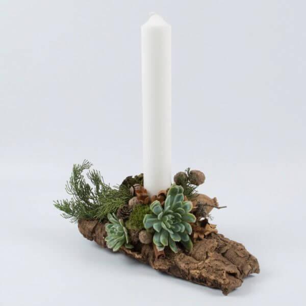 Juledekoration, natur, hvidt lys, forfra 1