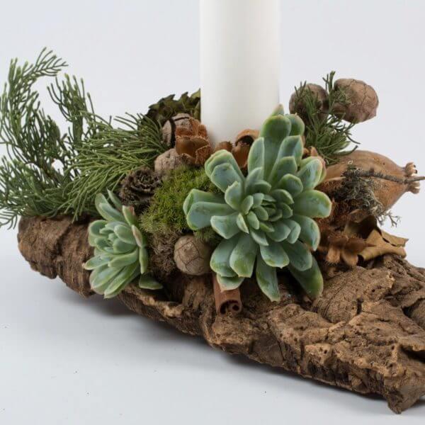 Juledekoration, natur, hvidt lys, detalje 1