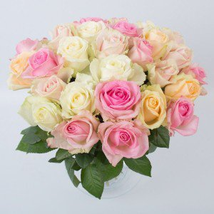 Lyse roser, ovenfra