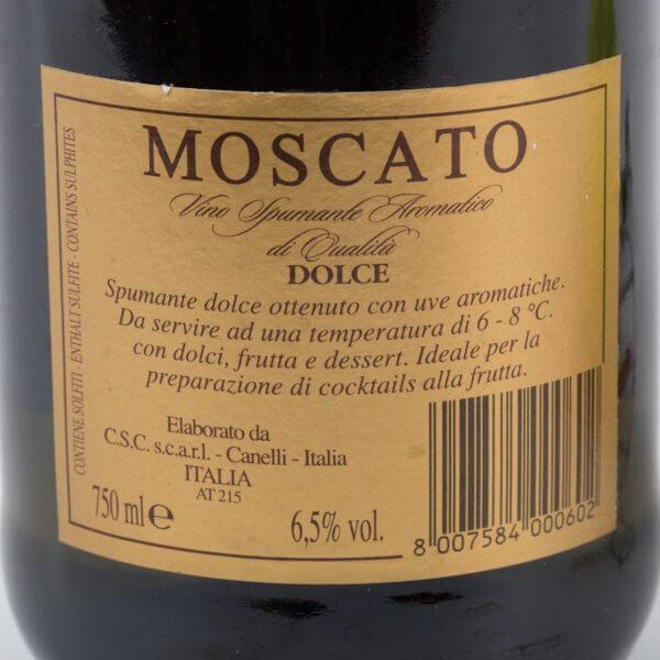 Moscato, Sød Mousserende, bagside etiket