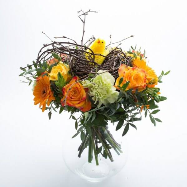 Påskebuket, blomstrende rede, forfra