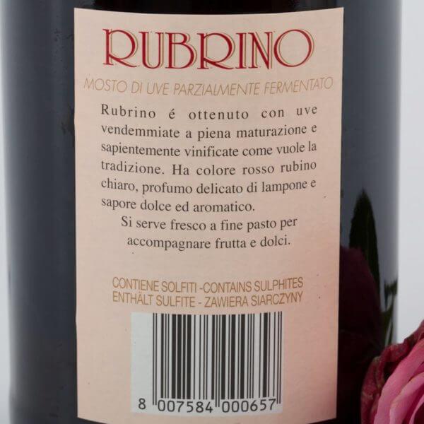 Rubrino, Rød Moscato, bagside etiket
