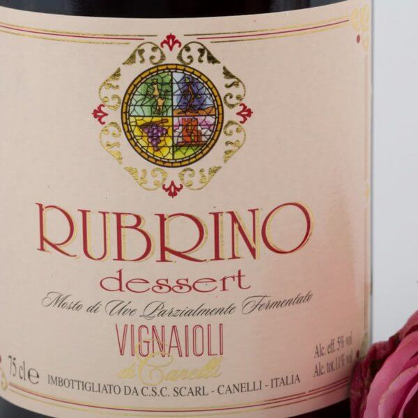 Rubrino, Rød Moscato, forside etiket