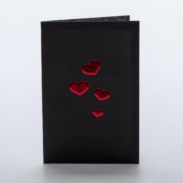 Sort med røde hjerter, moderne blomsterkort
