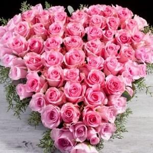 Hjerte af pink roser stukket i oasis