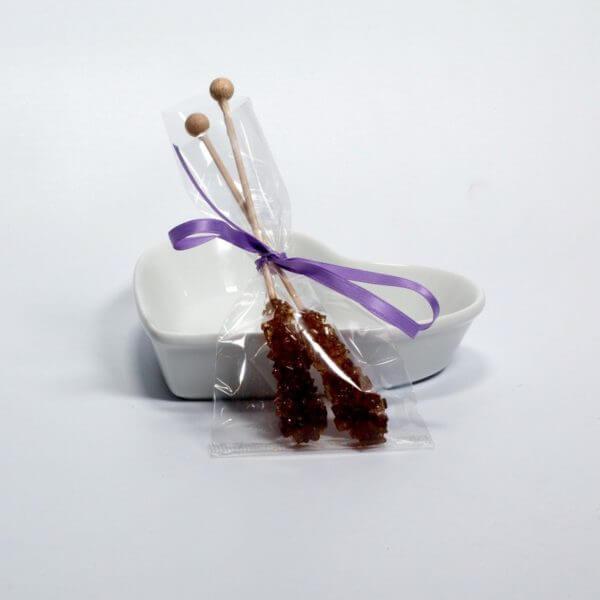 Kandispinde to styk i pose med lavendel bånd