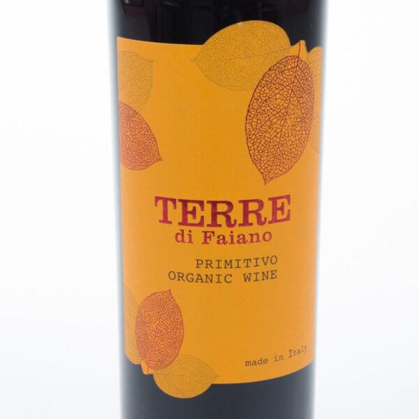 Primitivo økologisk rødvin Forsideetiket