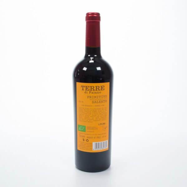 Primitivo økologisk rødvin bagside af flasken