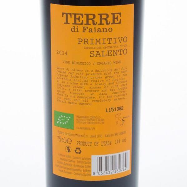 Primitivo økologisk rødvin Bagsideetiket