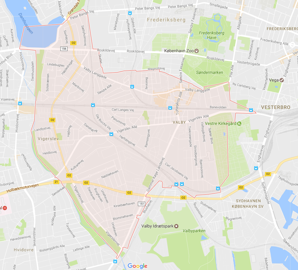 Leveringsområde, Blomster Valby