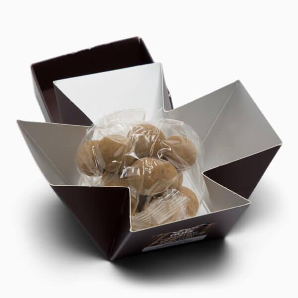 Lakrids med chokolade vist åbnet