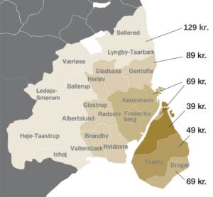 Kort over Amager Blomsters udbringningsområde, med priser
